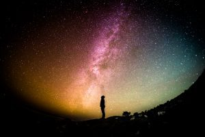 person looking at night sky to connect with inner guidance