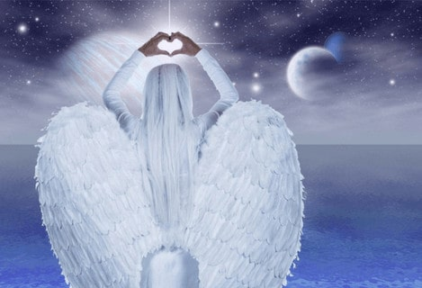 Angel looking towards the sky with her fingers making a heart shape. Bright light shines.